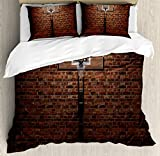 Sports Decor Duvet Cover Set by Ambesonne, Old Brick Wall and Basketball Hoop Rim Indoor Training Exercising Stadium Picture Print, 3 Piece Bedding Set with Pillow Shams, Queen / Full, Brown