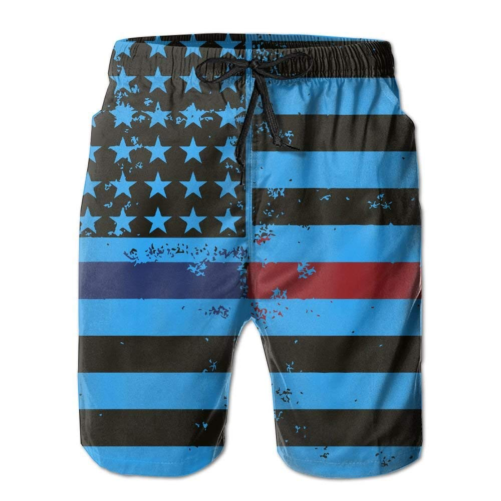yuqiang ZrGo Mens Red Blue Line Flag Quick-Dry Summer Beach Surfing Board Shorts Swim Trunks Cargo Shorts