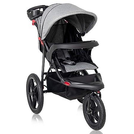 Costzon Baby Jogger Stroller, All Terrain Lightweight Fitness Jogging Stroller w Parental Cup Phone Holder, Free Tractive Webbing, Large Storage Basket Gray