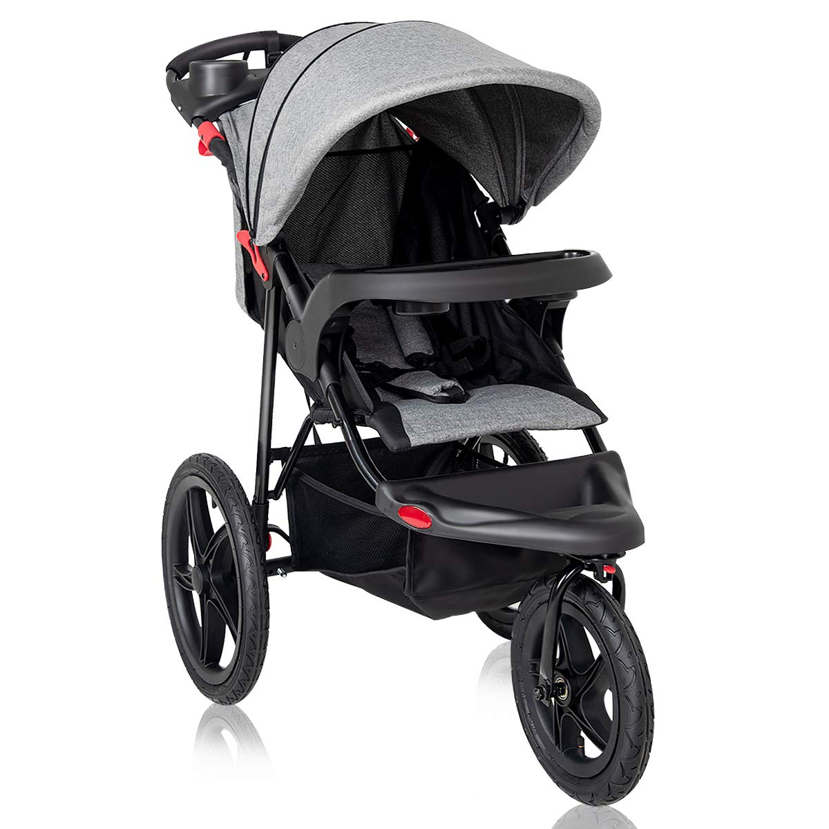 Costzon Baby Jogger Stroller, All Terrain Lightweight Fitness Jogging Stroller w/Parental Cup Phone Holder, Free Tractive Webbing, Large Storage Basket (Gray)