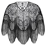 BABEYOND 1920s Shawl Wraps Gatsby Beaded Evening Cape Bridal Shawl for Evening Dresses Wedding Party (Black)