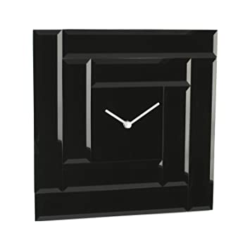 Contemporary Square Mirror Glass Wall Clock Entirely Black Amazon