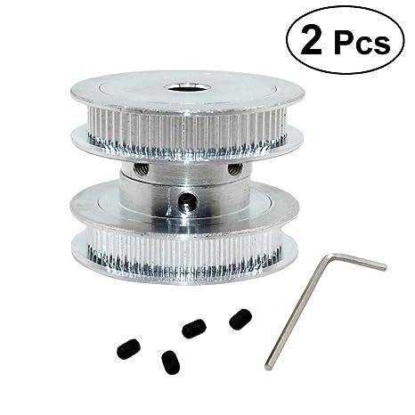 ounona 2 unidades alta precisión aluminio aleación GT2 60 dientes 8 mm Orificio dientes con llave Polea para cinturón de 6 mm (Plata): Amazon.es: Bricolaje ...