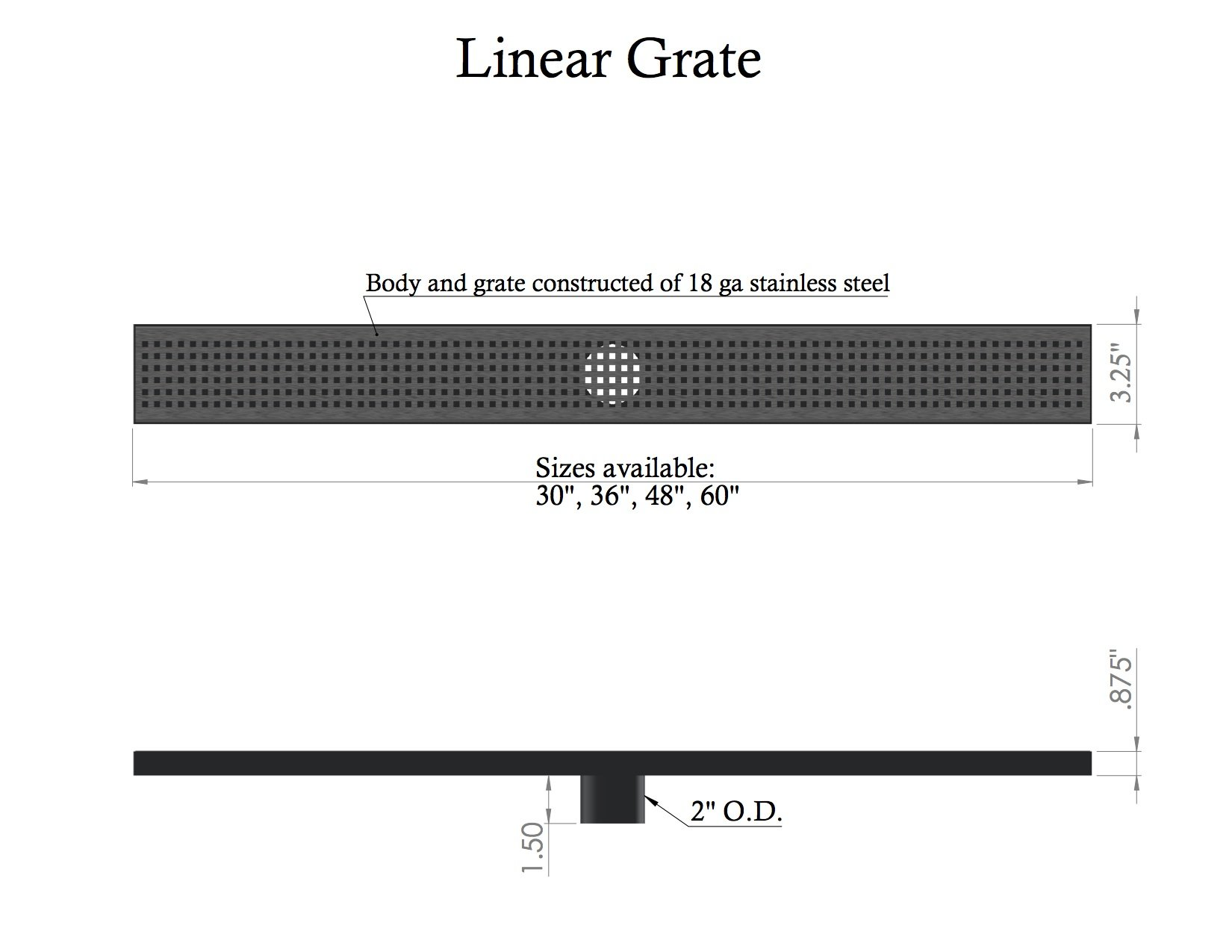 30'' LINEAR SHOWER DRAIN STANDARD GRATE WITH FREE LINEAR DRAIN HEIGHT ADJUSTER by Thunderbird Products, Inc.