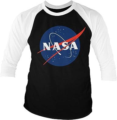 Nasa Licenciado Oficialmente Insignia - Baseball Camisa de Manga 3/4 para Hombre (Negro-Blanco): Amazon.es: Ropa y accesorios