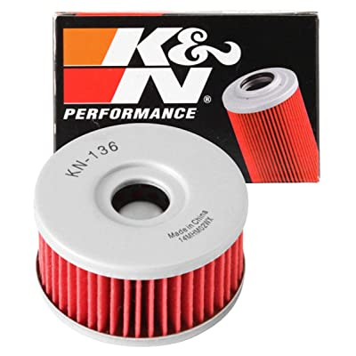 K&N Motorcycle Oil Filter: High Performance, Premium, Designed to be used with Synthetic or Conventional Oils: Fits Select Suzuki Vehicles, KN-136: Automotive