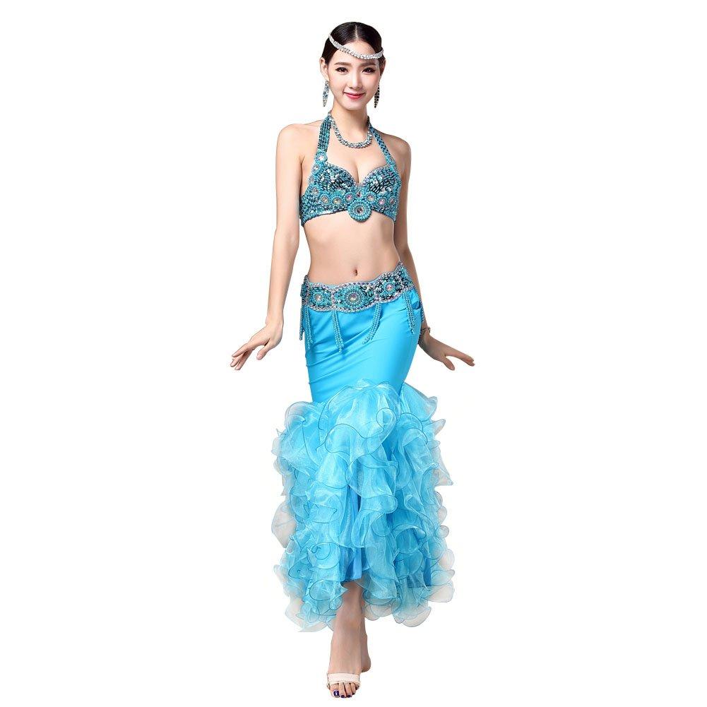 (ヨゾデメ)GUILTY BEAUTYベリーダンス衣装 ビーズ刺繍 プロ仕様ダンス服 3点セット ブラジャー 腰ベルト マーメイドスカート B01FADWSFQ  L