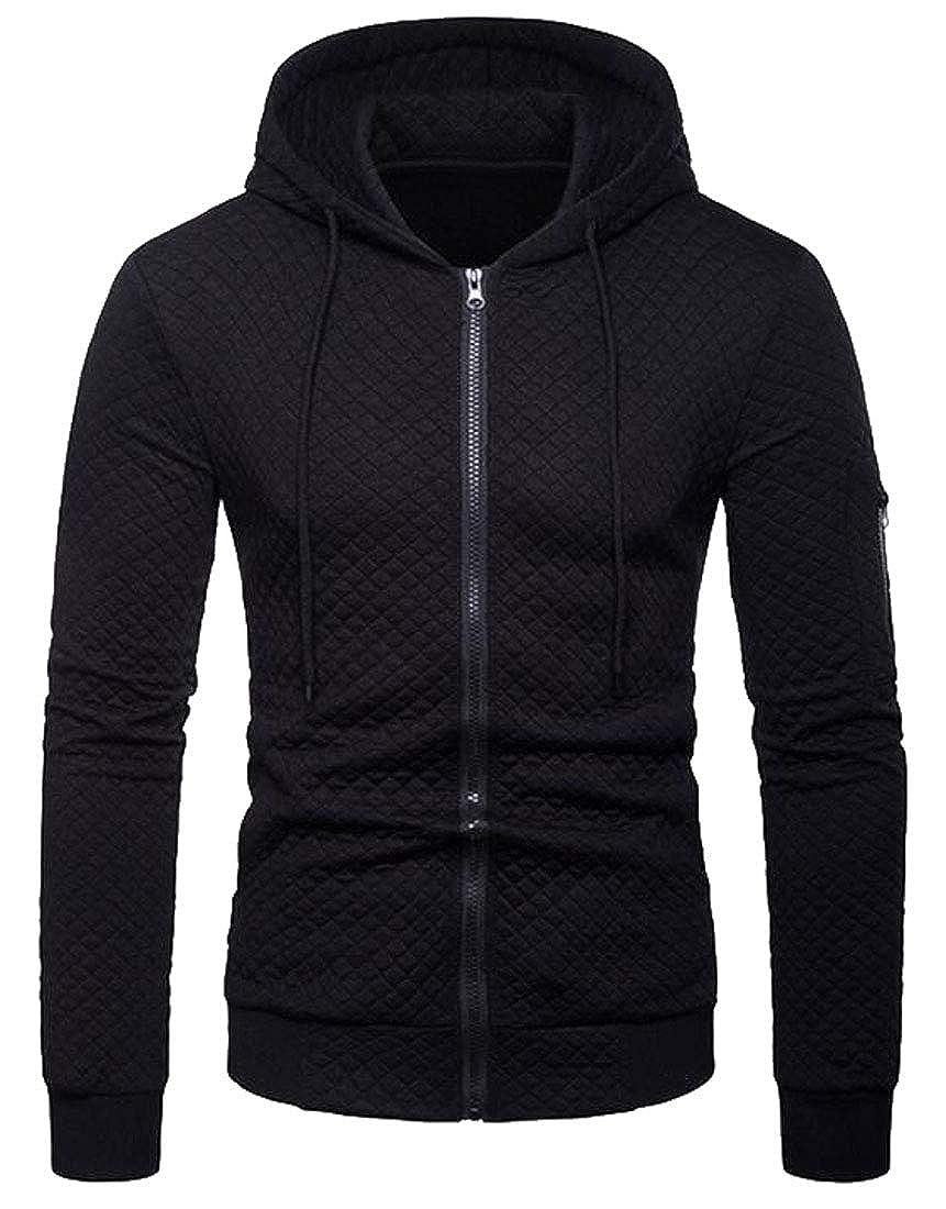 ARTFFEL Mens Plain Loose Fit Zip Up Casual Hooded Hoodies Sweatshirt Coat Jacket