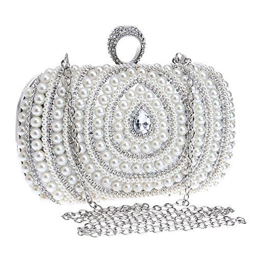 nozze pieno donne perline Bag Gscshoe di argento Strass per Borse colore Banchetto Matrimoni perline da le Argento sera Clutch catena artificiale g0x0vnWZ