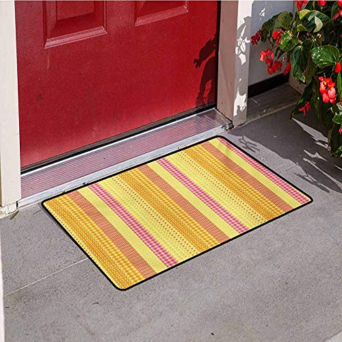 Jinguizi Floral Inlet Outdoor Door mat Flowers Stars Stripes Mix Patchwork Style Motif Kids Baby Playroom Design Catch dust Snow and mud W15.7 x L23.6 Inch Yellow Marigold Pink