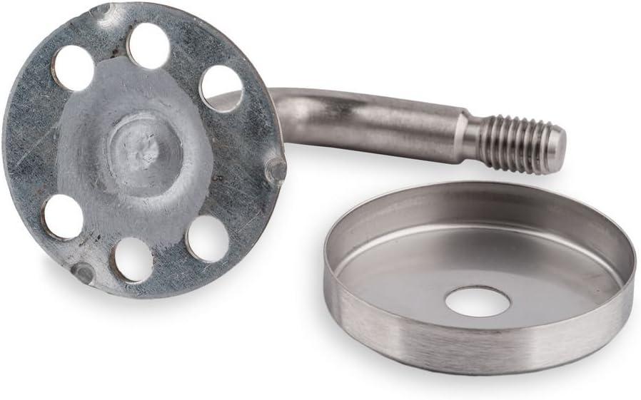 Graber Set main courante ronde en h/être verni avec 3 fixations en acier inoxydable /Ø 45 mm//longueur 2800/mm