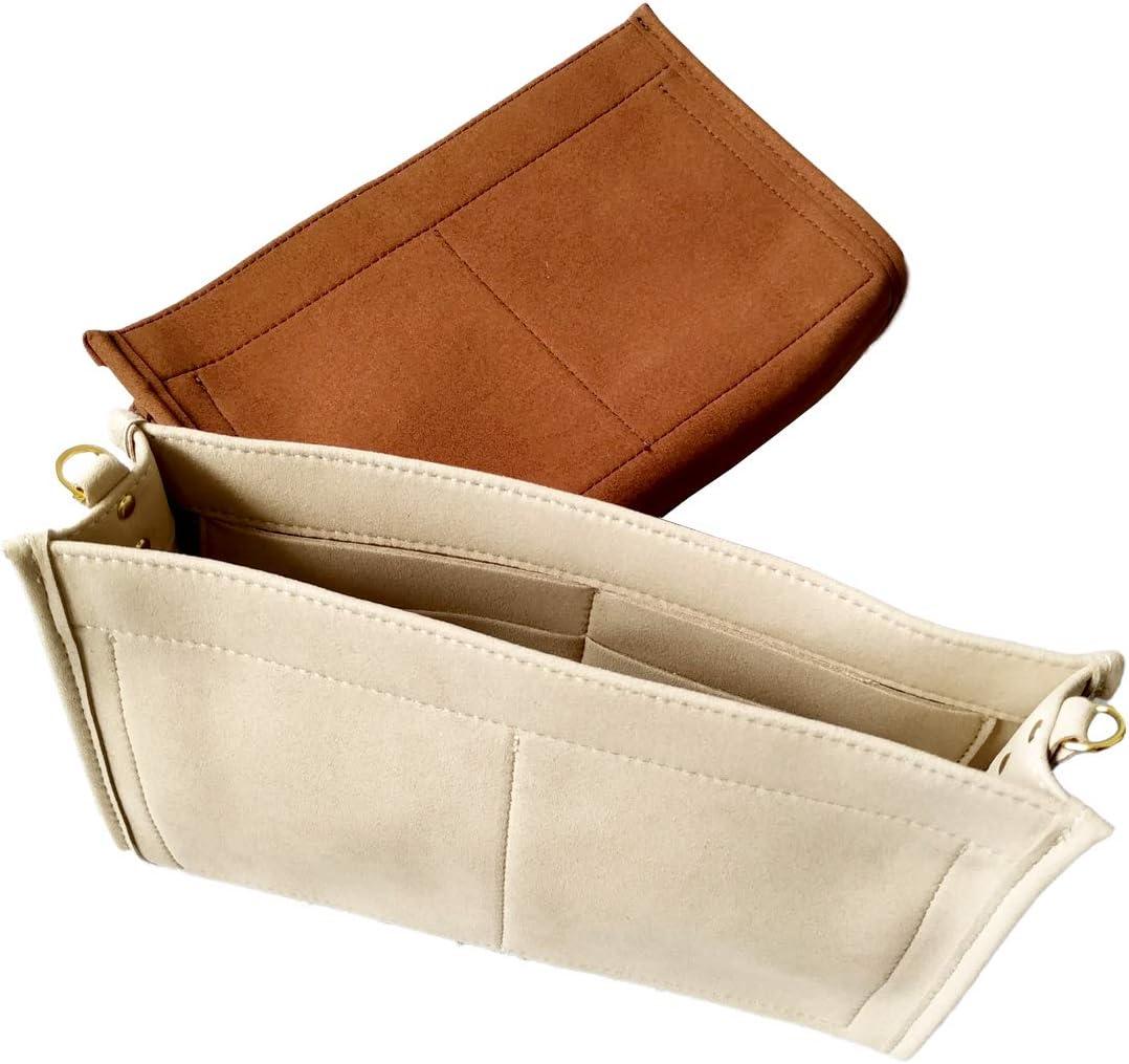 Tourdream Purse Organizer Insert Fit Toiletry Pouch 26 19 Handbag Shaper Premium Microfiber with Gold Buckles (Toiletry Pouch 26, Light Khaki)