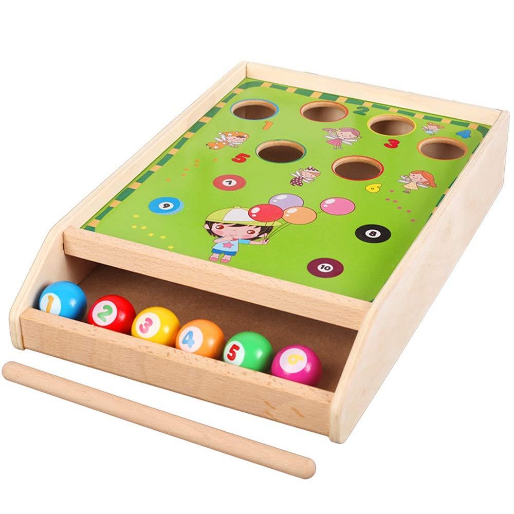 木製パズル おもちゃ 子供用 ビルディングブロック 楽しいビリヤードゲーム ビリヤード 木製カラー マッチング認知玩具 子供 幼児用 B07QFT2Y5F
