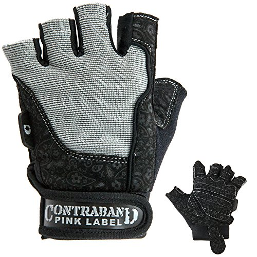 - Contraband Pink Label 5127 Womens Weight Lifting Gloves w/Comfort-Soft Interior Padding (PAIR) (Gray, Large)