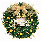 Mynse 15.7'' Artificial Pine Branch Christmas Wreath for Front Door Mall Window Hotel Christmas Decoration Christmas Ball Wreath Golden and Green