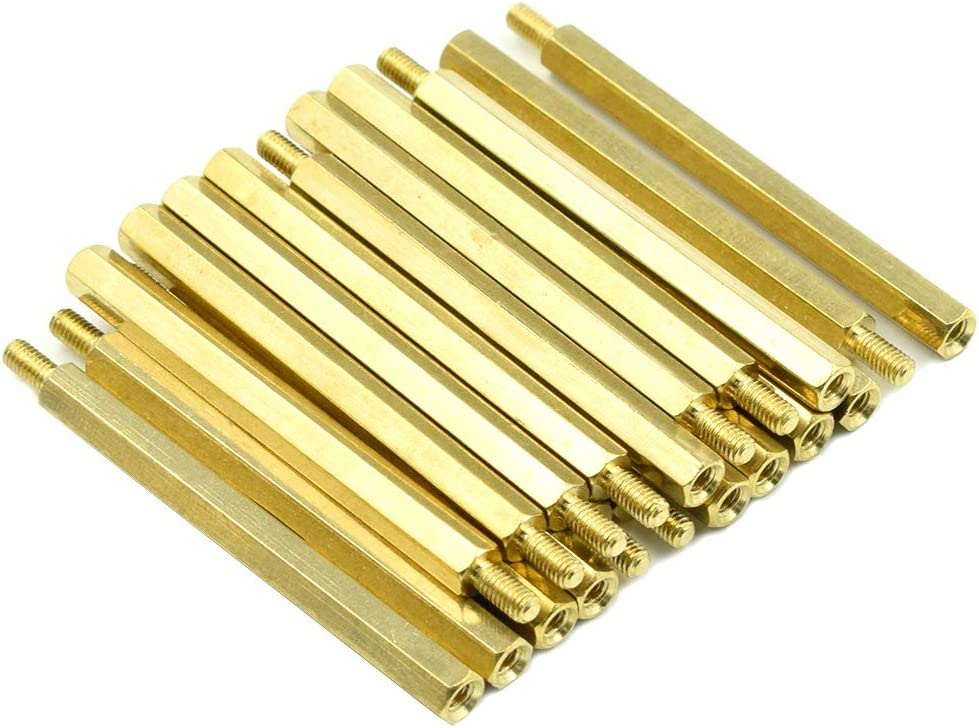 Hxchen M3 x 10mm 100 Pcs 6mm Male to Female Thread Nylon Plastic Hexagon Standoff Spacer Pillars Black