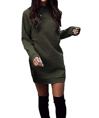 Damen Freizeit Kleid Elegant Rundhals Midi Kleider mit Kleidungstasche Blusenkleider Ballkleid Festkleid Frauen Langarm Tasche Wickelkleider