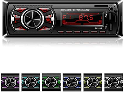 Car Radio Lypumso 7 Colors Backlight Bluetooth Stereo USB Quick Charge Hands-Free Calls Bluetooth//USB//SD//AUX//FM MP3 Player Wireless Remote Control Phone Charge Radio Receiver