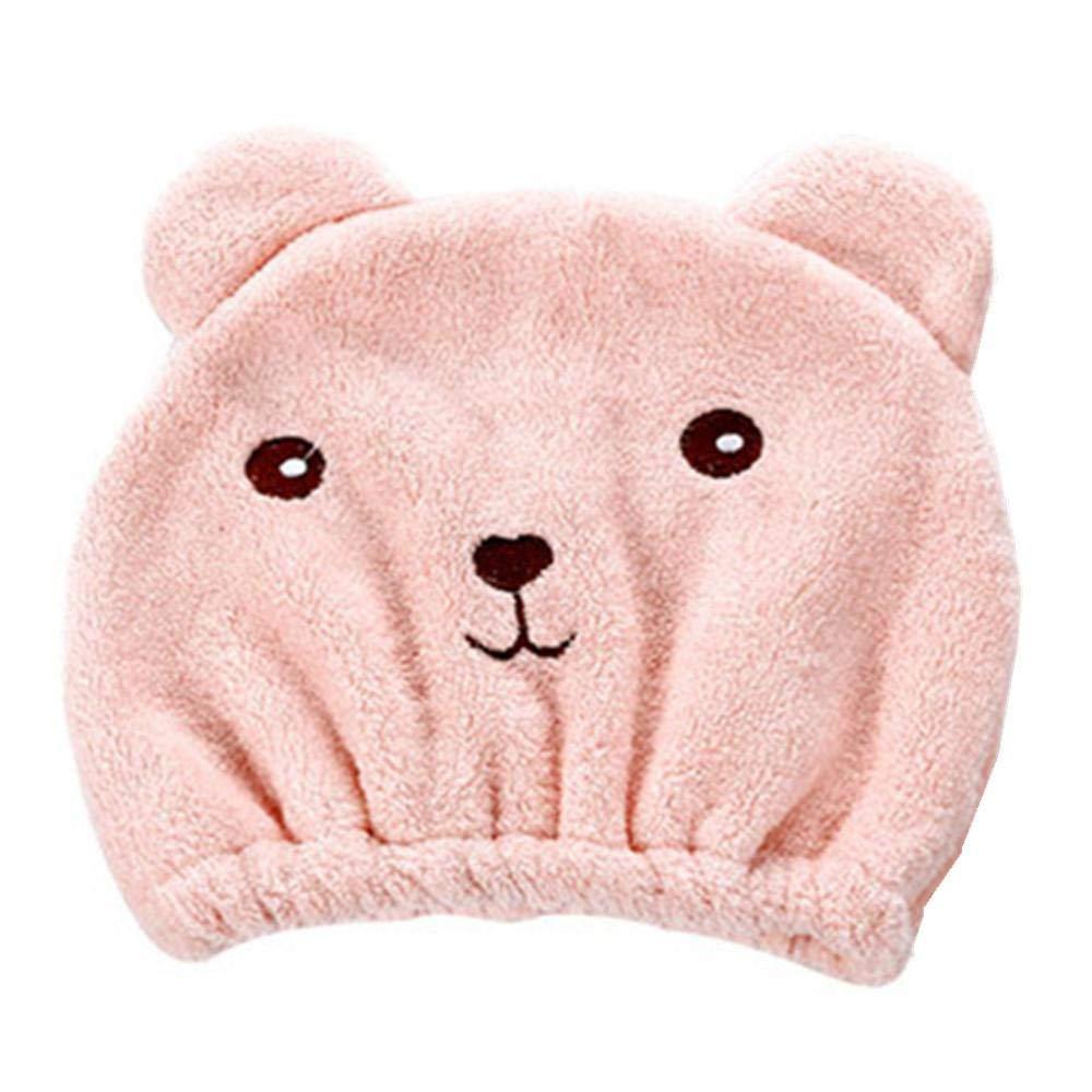 Junshion Hair Turban Soft Microfiber Quickly Dry Hair Hat Wrapped Towel Bathing Cap Cute Bear Shower Cap Bathroom Hats