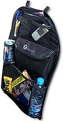 Zone Tech 7-Pocket Organizer Black Sturdy Rugged Pack Cloth Compact Car Back Seat Headrest Organizer Vehicle Item Storage Holder