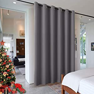 RYB HOME Portable Room Divider Curtain, Noise Reduction Privacy Protaction Heavy Duty Grommet Top Curtain Panel for Living Room/Locker Shelf/Dorm Decor, 9 ft Tall x 10 ft Wide, Gray, 1 Pack