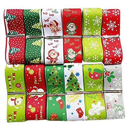 1 Yard Grosgrain Ribbon - Chenkou Craft 12Yards Merry Christmas Polyester Grosgrain Ribbon 1