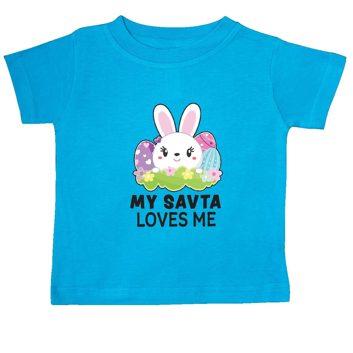 inktastic My SAVTA Loves Me with Bunny and Easter Eggs Baby T-Shirt