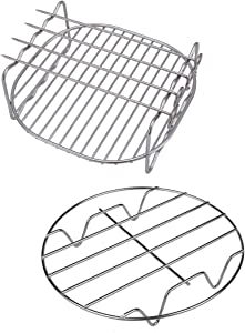 Air Fryer Rack 8 Inch Square Double Layer with 4 Skewers Multipurpose Stainless Steel Rack Metal Holder Fit for Most 4.2QT or Above