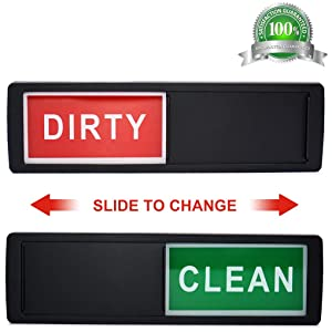 Dishwasher Magnet Clean Dirty Sign Shutter Only Changes When You Push It Non-Scratching Strong Magnet or 3M Adhesive Options Indicator Tells Whether Dishes Are Clean or Dirty (Black)