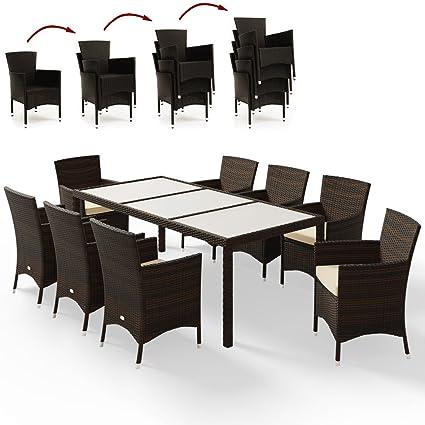 Amazonde Deuba Poly Rattan Sitzgruppe Braun 8 Stapelbare Stühle