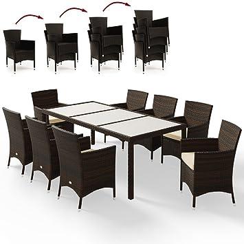 Deuba Poly Rattan Sitzgruppe 8+1 Braun | 8 Stapelbare Stühle | 7cm Dicke  Sitzauflagen