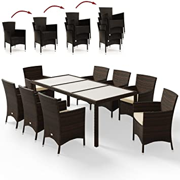 Deuba Poly Rattan Sitzgruppe Braun 8 Stapelbare Stuhle 1 Tisch 7cm Dicke Auflagen Gartenmobel Lounge Garten Set