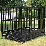 Sliverylake XXL 42'' Dog Crate Kennel -Heavy Duty Pet Cage Playpen w/ Metal Tray Exercise Pan
