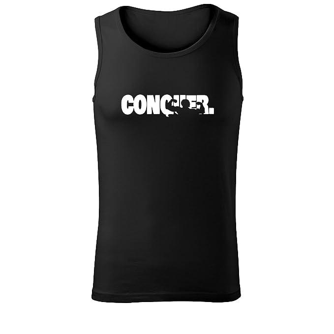 Herren Top Conquer Unterhemd Shirt - schwarz & weiß mit Motiv - Tank  Muskelshirt T-Shirt bedruckt Poloshirt mit Motiv - Neu S - XXL: Amazon.de:  Bekleidung