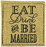 "Kate Aspen ""Eat, Drink and  Be Married"" Burlap Coasters, Set of 2"