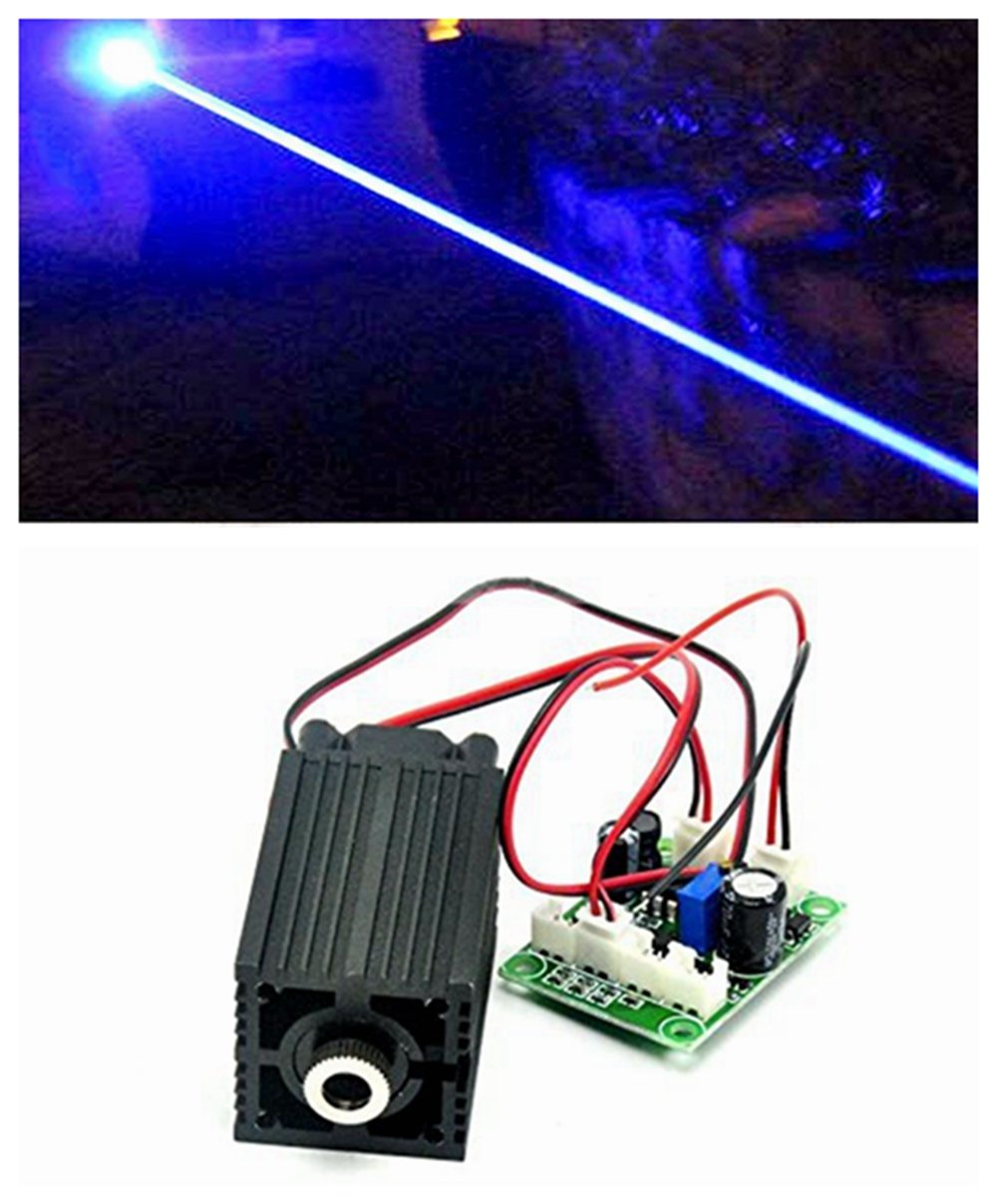 12V Industry/Lab Laser 450nm 1000mW 1W Blue Diode Laser Dot Module w/TTL & Adapter & Long Time Working