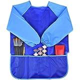 PIXNOR Impermeabilizan manga larga bata de arte mandil de pintura niños (azul)