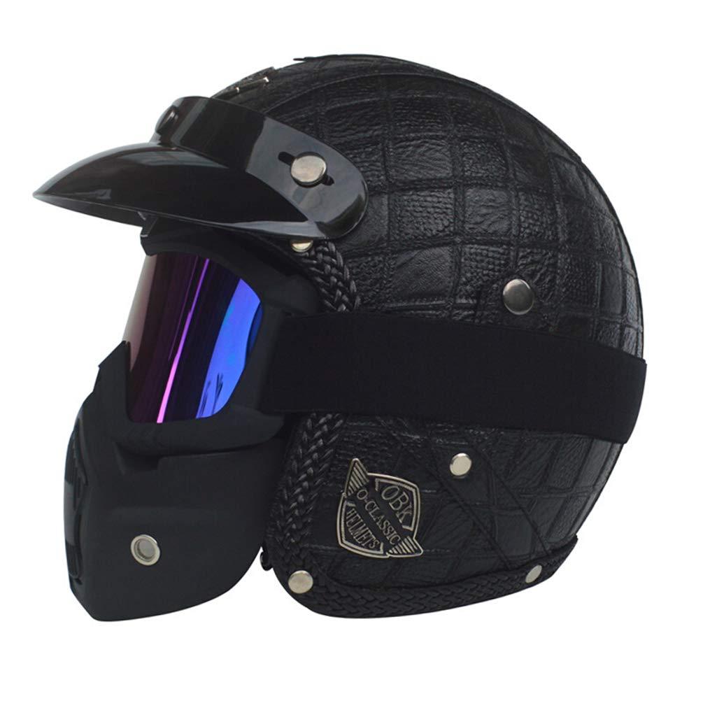 Casco moto Halley Retro Prince 3//4 caschi da motocross sicurezza 24 colori 53-61cm Casco moto in pelle per adulti con visiera