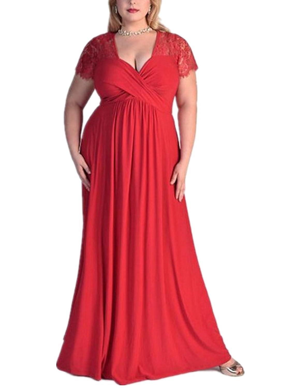 Season Show Women's Summer Plus Size Lace Short Sleeve Long Evening Party Dress