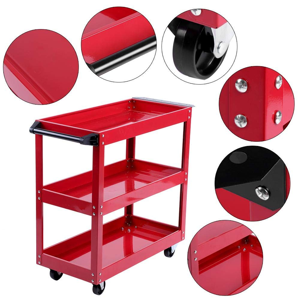 EBTOOLS Tool Trolley,3-Tier Storage Shelves Chest Tools Portable Cart Trolley Shelf with 360/° Free Rotation Wheels for Workshop Garage Use