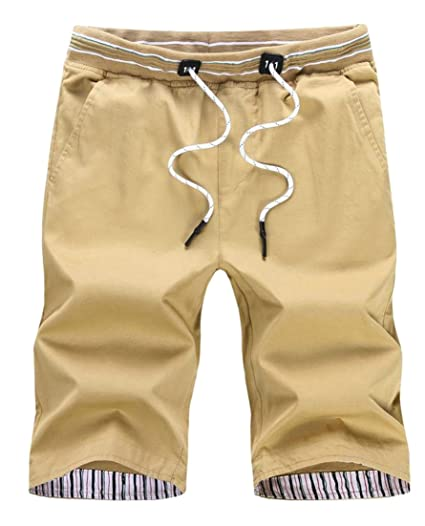 146a65e154 Image Unavailable. Image not available for. Color: Cruiize Men's Straight  Bermuda Drawstring Summer Active Beach Shorts Khaki XXXL
