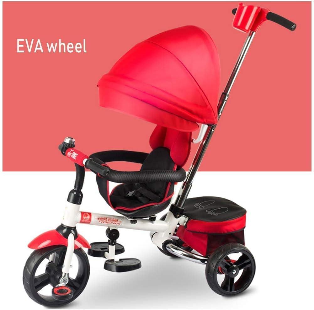 XIUYU 4 en 1 Triciclo, triciclos for niños Tienda de Juguete En línea 4 en 1 Trike con extraíble Padres empujan a Barra de la manija del Cochecito Desmontable Canopy El 3 Ruedas