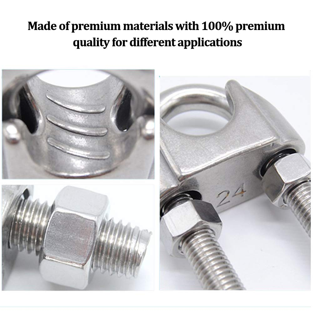 1//4 Wire Rope Cable Wire Rope Clip Cable Clamp Stainless Steel U Bolt Saddle Fastener M6 for /Ø 6mm Pack of 10