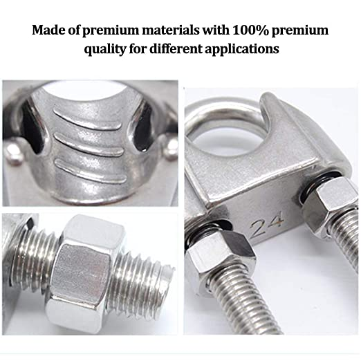 12Pcs TXErfolg Wire Rope Clip Cable Clamp 304 Stainless Steel U Bolt Saddle Fastener M4 M5 M6 for /Ø 4mm//5mm//6mm Wire Rope Cable