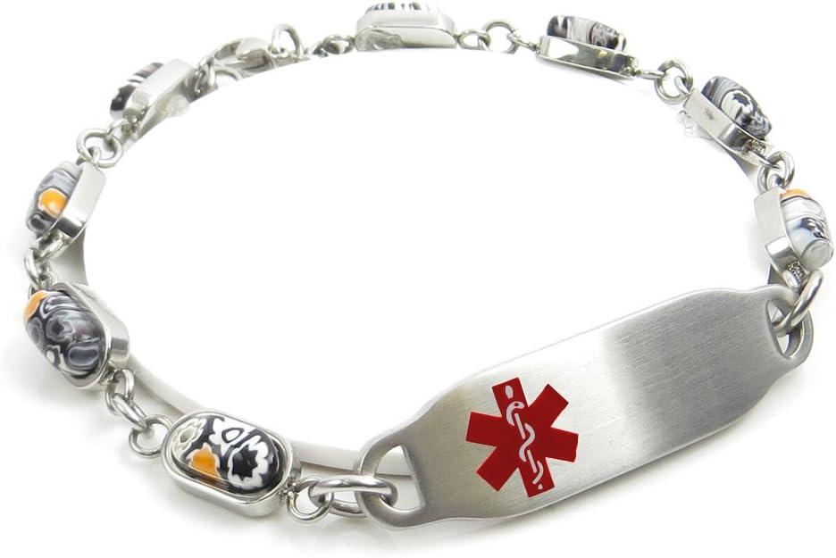 My Identity Doctor Pre-Engraved /& Customized Coumadin Alert Bracelet Black//White Millefiori Glass Yellow