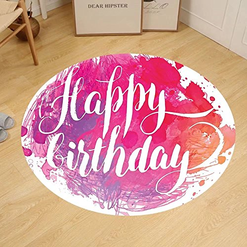 Gzhihine Custom round floor mat Birthday Decorations Watercolor Greeting Card Inspired Display with Text Brushstrokes Bedroom Living Room Dorm Blue Green White by Gzhihine