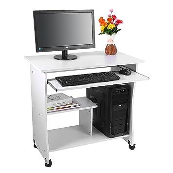 Yosoo Mesa para Ordenador de Madera Compacta con Ruedas Escritorio de PC con Portateclado para Oficina o Hogar (Blanco): Amazon.es: Hogar