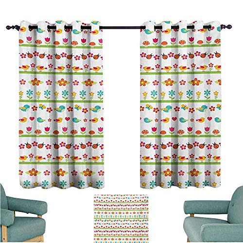 DONEECKL Novel Curtains Kids Lovely Border Designs with Birds Ladybugs and Summer Flowers Cheering Nature Cartoon Light Blocking Drapes with Liner W55 xL39 Multicolor