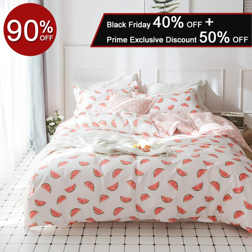 XUKEJU 100% Cotton Bedding Fruit Soft Children Duvet Cover Set Print Watermelon Pattern Boys Girls Bedding Set 3 Pieces with 2 Pillow Cases Best Bedding Decoration GIF for Kids/Adult Full Queen