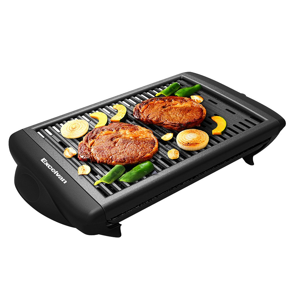 Electric Smokeless Indoor Barbecue Grill Classic Plate Nonstick Surface Contact Grill with Removable Plates, 1120W, Black